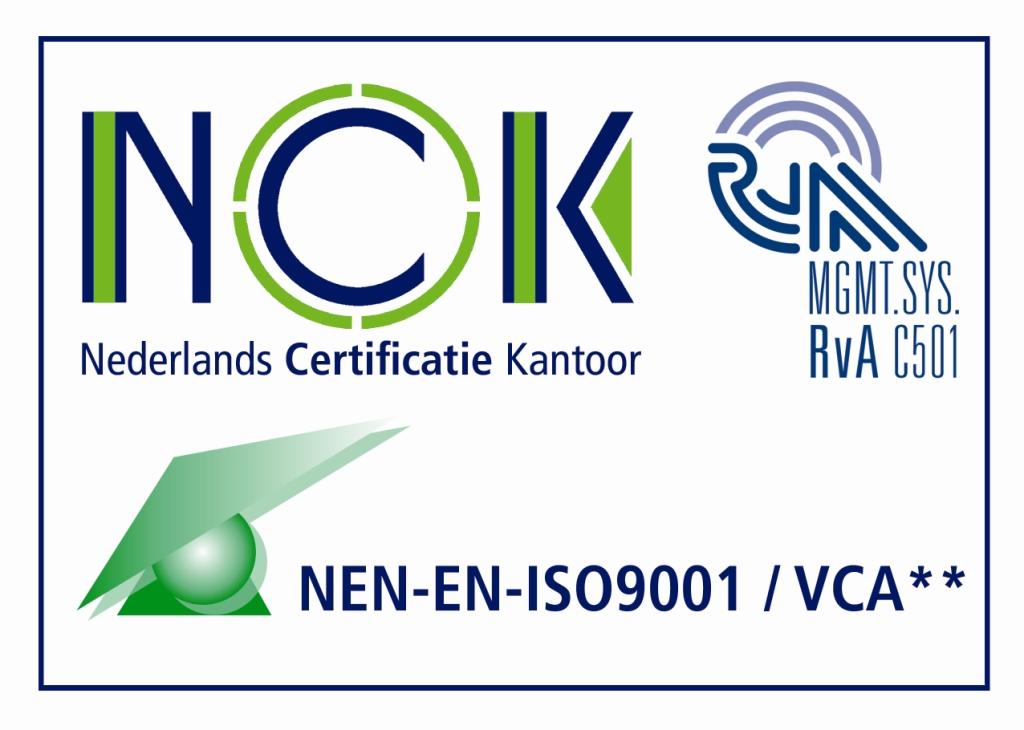 Certificaten - NCK Nederlands Certificatie Kantoor - MGMTSYSS Rva C501 - NEN EN ISO9001 VCA